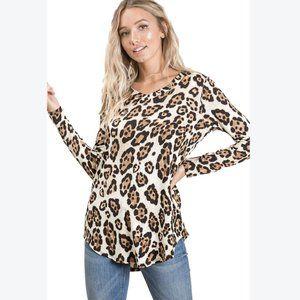 Reborn J Women's Long Sleeve Leopard Print Tunic